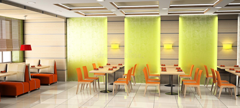 Cafe interior 3D vector illustration