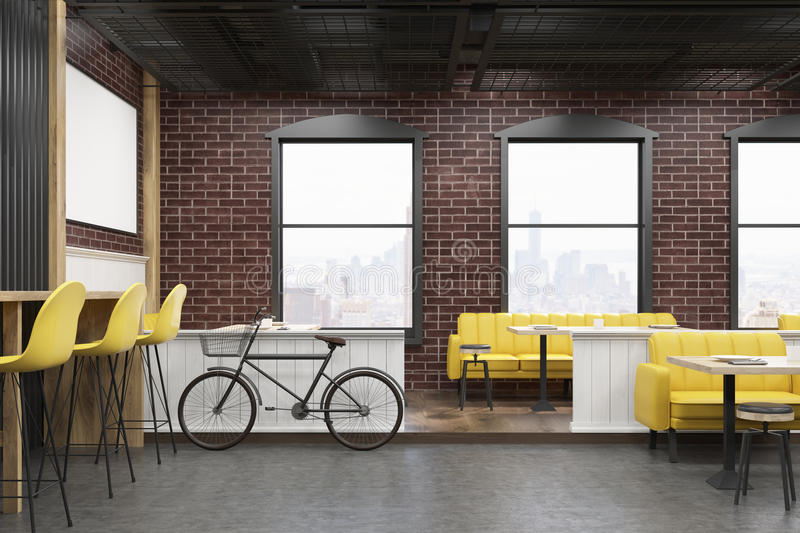 download cafe interior with brick walls and a bicycle stock illustration image 81768403 - Large Cafe Interior