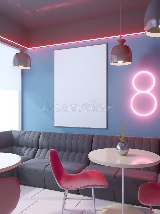 Cafe interior with a large sofa, a row of tables with chairs 3d rendering. illustration Mock up. vector illustration