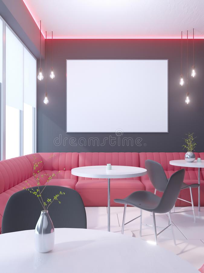 Cafe interior with a large sofa, a row of tables with chairs 3d rendering. illustration Mock up. stock illustration