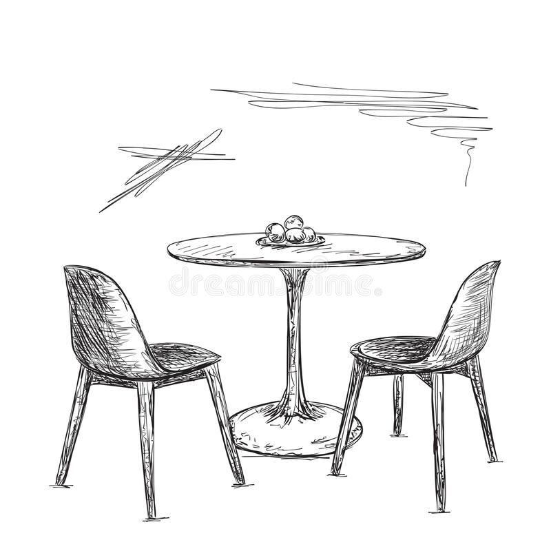 cafe or kitchen interior  table and chair sketch stock