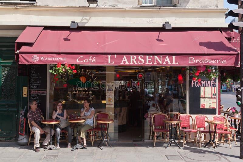 Cafe L´Arsenal in Paris royalty free stock photos