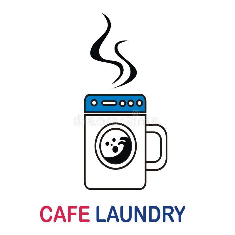 Cafe laundry logo design concept vector illustration