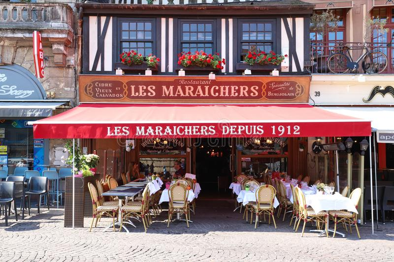 Cafe Les Maraichers located at Vieux Marche square in Rouen, capital of Normandy, France. royalty free stock photos