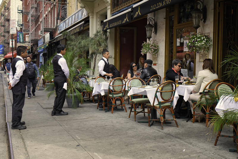 Cafe, Little Italy, New York City stock photography