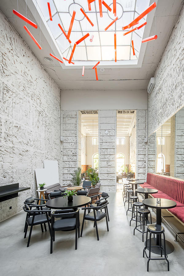Cafe in loft style stock photography