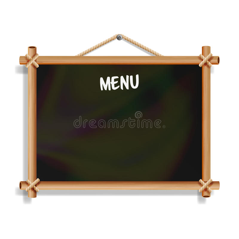 Cafe Menu Board. Isolated On White Background. Realistic Empty Black Chalkboard With Wooden Frame Hanging. Vector Illustration stock illustration