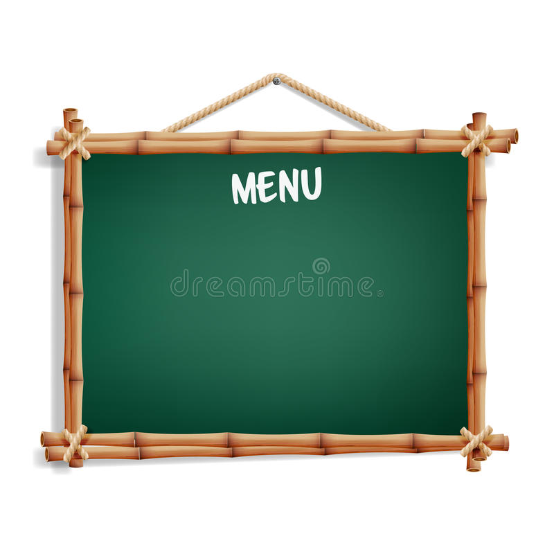 Cafe Menu Board. Isolated On White Background. Realistic Green Chalkboard With Wooden Frame Hanging. Vector Illustration royalty free illustration