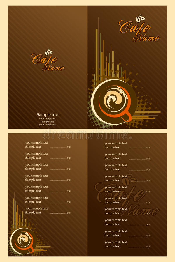 Cafe Menu Card Template Stock Vector Illustration Of Invitation