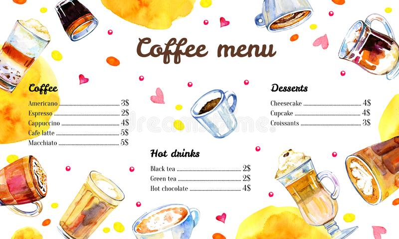 Cafe menu design template with list of coffee drinks. Watercolor hand drawn sketch illustration with glasses and mugs vector illustration