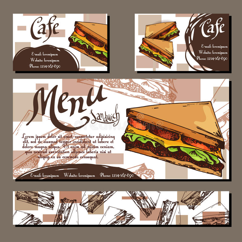Cafe menu with hand drawn design. Fast food restaurant menu template with sandwich. Set of cards for corporate identity. Vector il royalty free illustration
