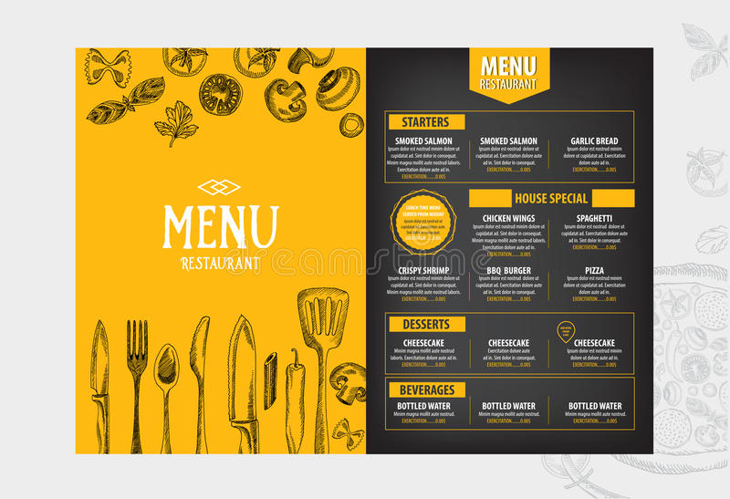 Cafe Menu Restaurant Brochure Food Design Template Stock Vector