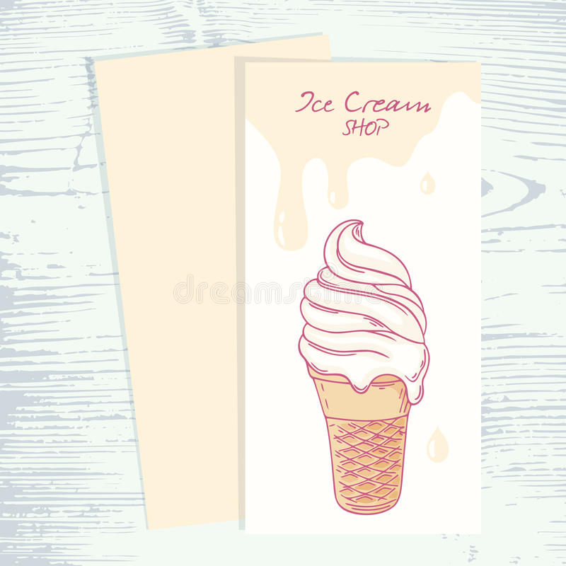 Cafe Menu Template With Hand Drawn Ice Cream Stock Vector ...