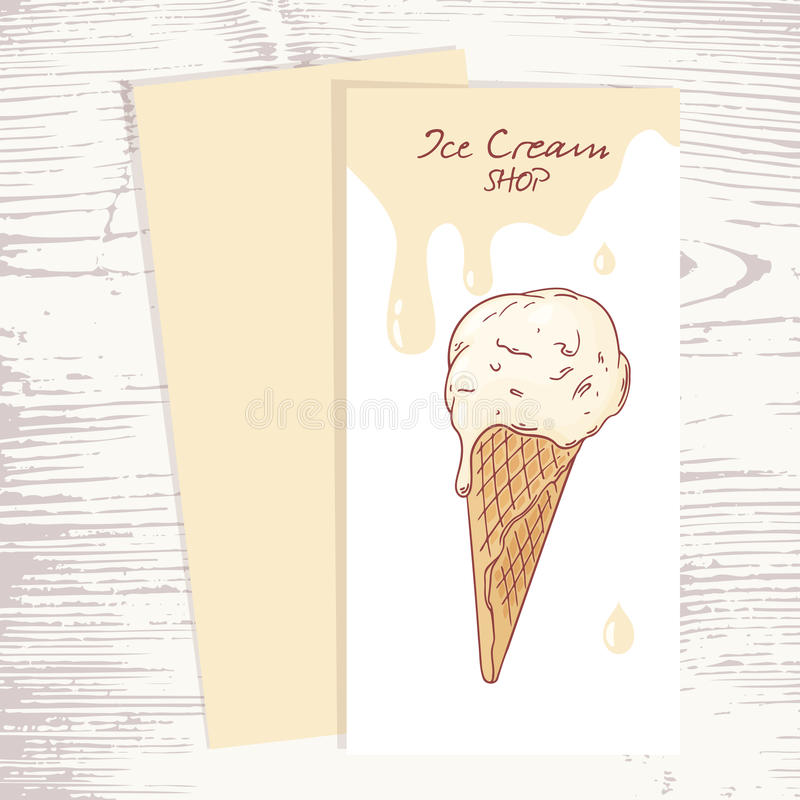 Cafe Menu Template With Hand Drawn Ice Cream In A Stock Vector ...