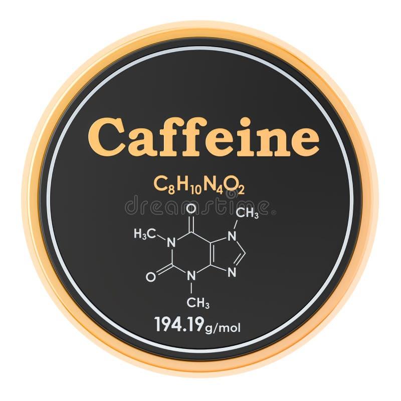cafe?ne Chemische formule, moleculaire structuur het 3D teruggeven op witte achtergrond ge?soleerd royalty-vrije illustratie