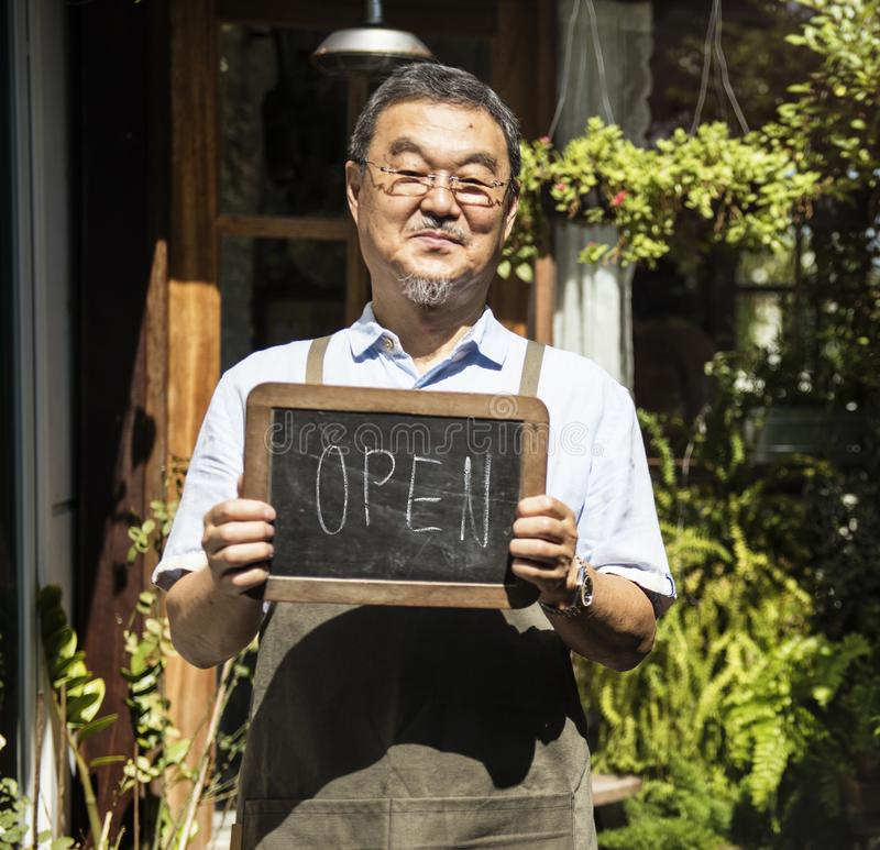 Cafe Open Shop Retail Welcome Notice Retail Front stock photo