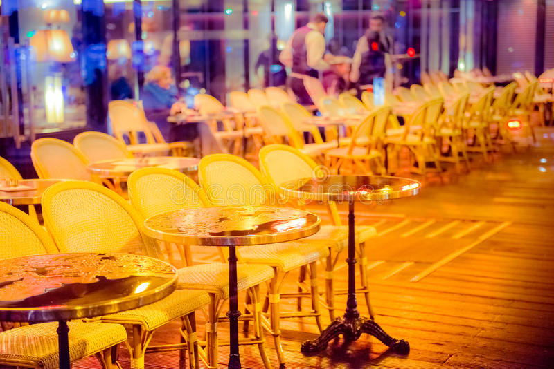 Cafe outdoor tables stock image