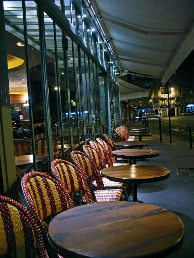 A Cafe in Paris, night. Empty place street, vacation best place, night view city street stock photos