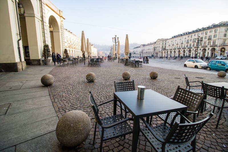 Cafe on Piazza Vittorio Veneto, Turin, Italy royalty free stock photo