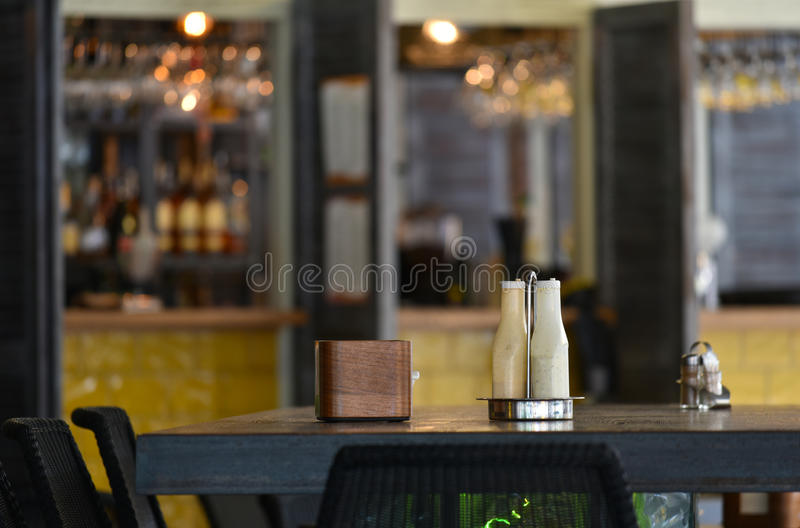 Cafe pizzeria interior table blurred background stock images