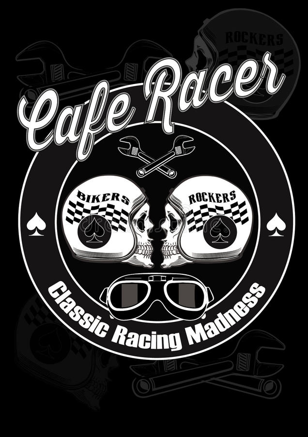Cafe racer2. Image illustration a BIKER COMMUNITY for idea PATCH and Tee Shirt royalty free illustration
