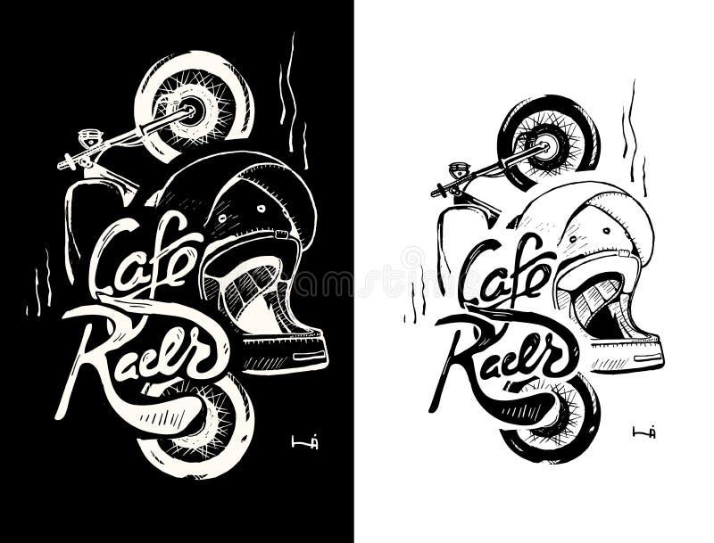 Cafe Racer Stil Gold Schrift Logos X2
