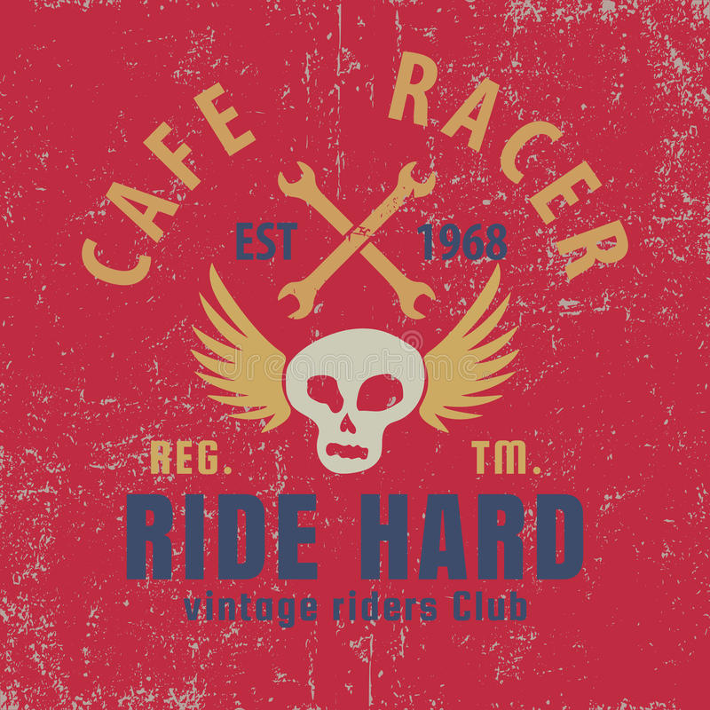 Cafe racer typographic with winged skull,graphic for for t-shirt,vector illustration. Cafe racer typographic with winged skull,graphic for for t-shirt,tee design stock illustration