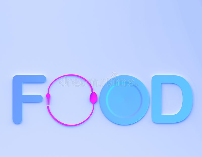 Cafe or restaurant emblem. food word sign logo with spoon and fork on blue colors background. minimal food concept. stock photos