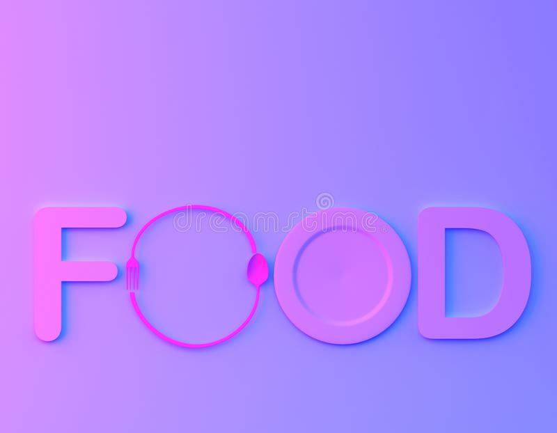 Cafe or restaurant emblem. food word sign logo with spoon and fork in bvibrant bold gradient purple and blue holographic colors ba. Ckground. minimal food stock illustration