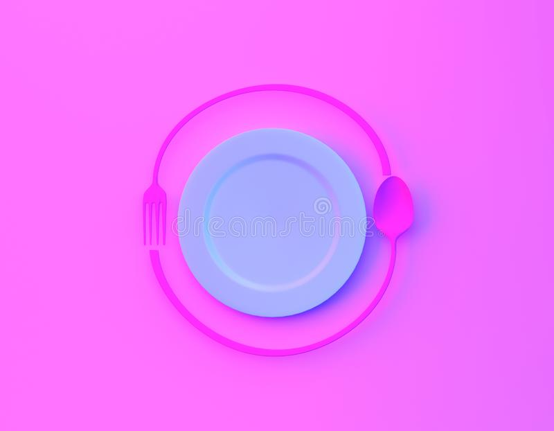 Cafe or restaurant emblem. Plate with fork and spoon in bvibrant bold gradient purple and blue holographic colors background. mini. Mal food concept stock illustration