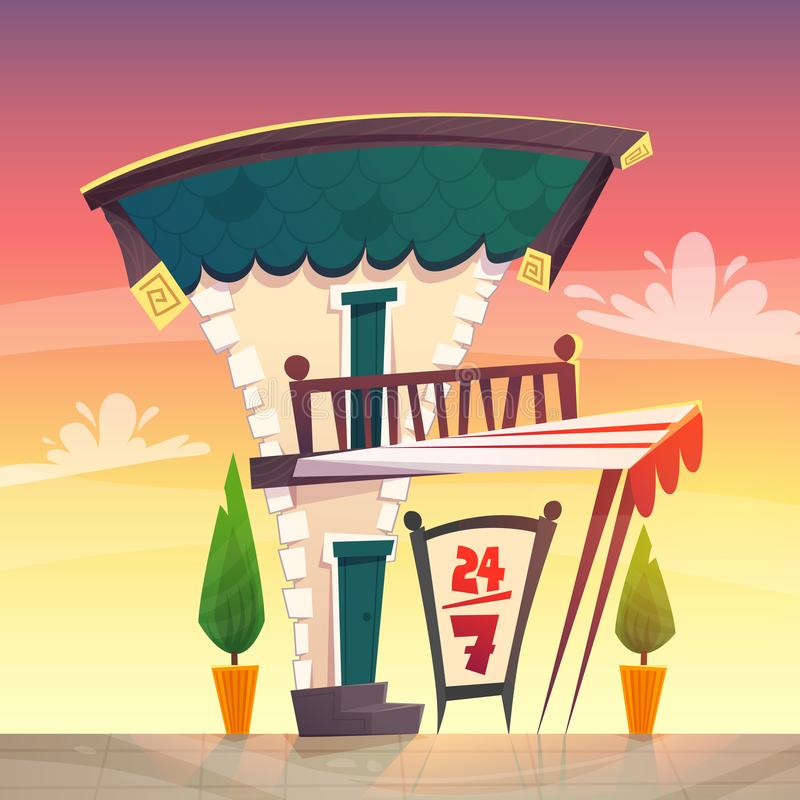Cafe restaurant or shop cartoon style medieval roof tavern with white red stripes canopy . sign board open at street . happy brigh stock illustration