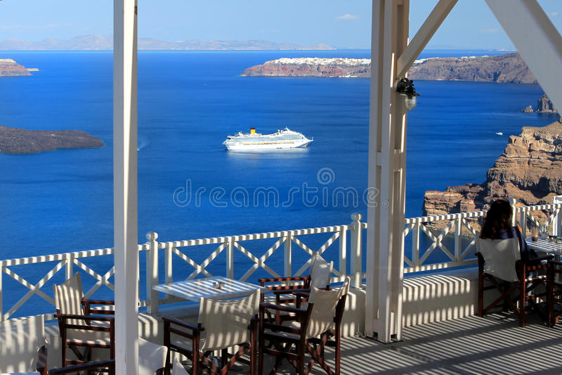 Cafe scene above the harbor royalty free stock photos