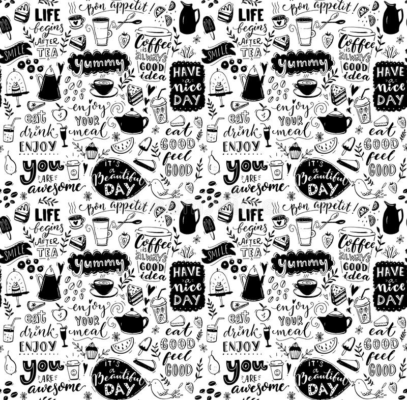 Cafe seamless pattern. Hand drawn tea and coffee pots, desserts and inspirational captions. Menu cover design, wallpaper vector illustration