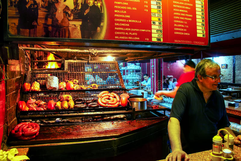 Cafe selling meats in Port Market, Montevideo, Uruguay royalty free stock photos