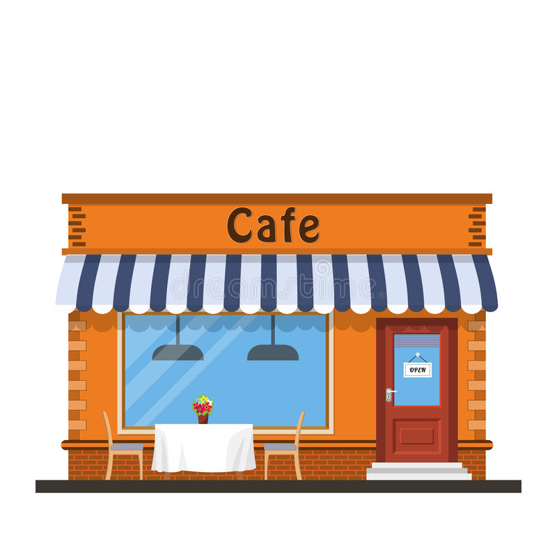 Cafe shop exterior. Street restraunt building. Vector illustration in flat style vector illustration
