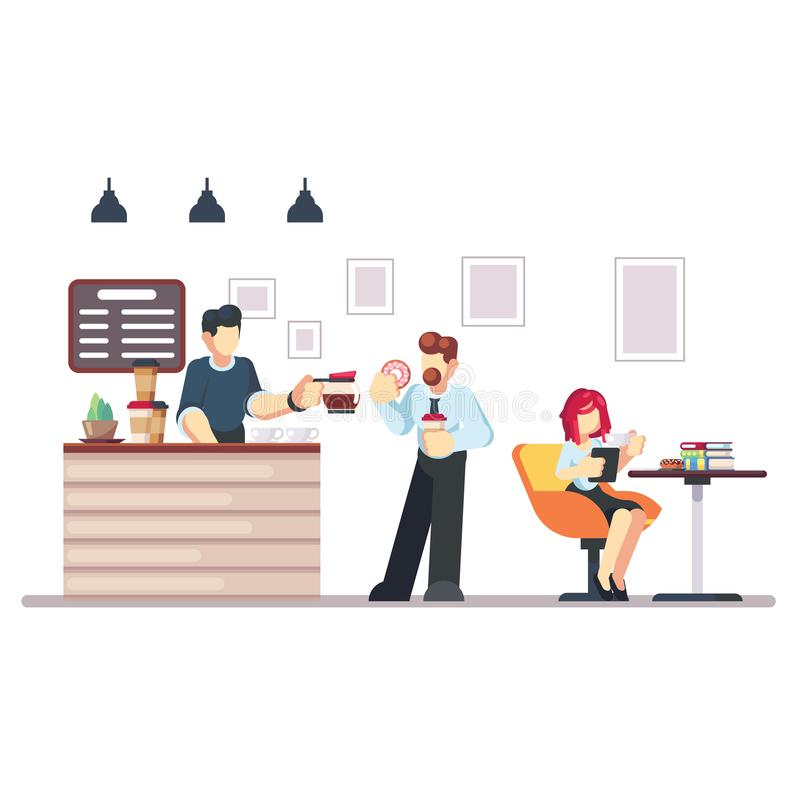 Cafe shop and people relaxing. Modern place interior to meet, drink and eat, chat, have a rest, enjoy free time, barista. Makes and serves coffee for public vector illustration