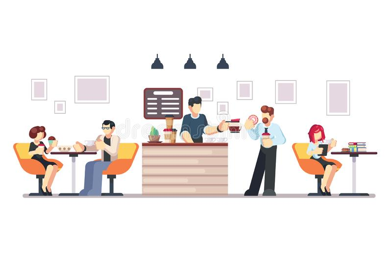 Cafe shop and people relaxing. Modern place interior to meet, drink and eat, chat, have a rest, enjoy free time, barista. Makes and serves coffee for public stock illustration