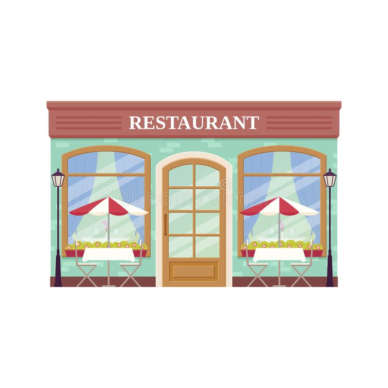 Cafe shop, storefront. Vector illustration. Coffee house facade. royalty free illustration