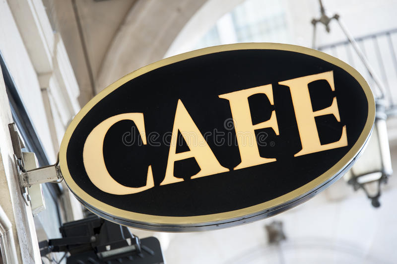 Cafe sign. A elegant cafe sign in Paris stock photo