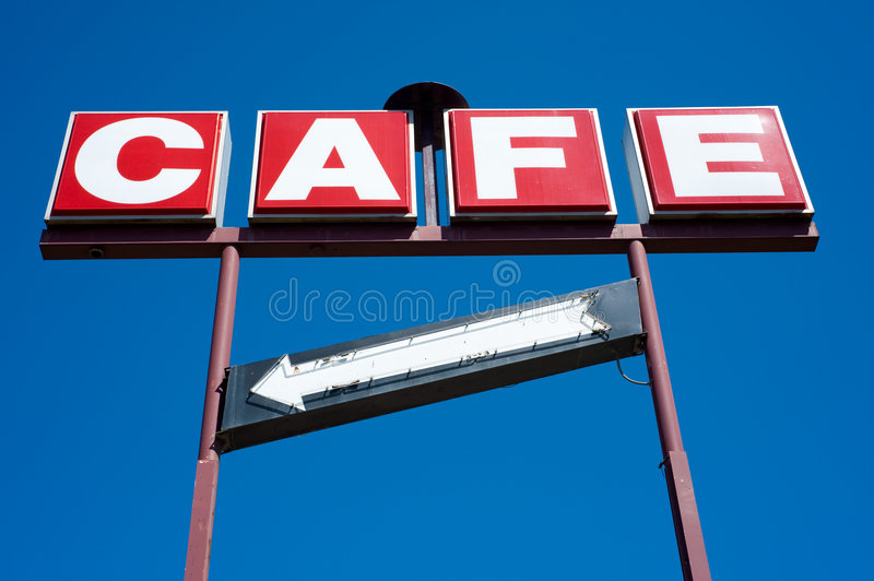 Cafe Sign With Arrow Royalty Free Stock Images