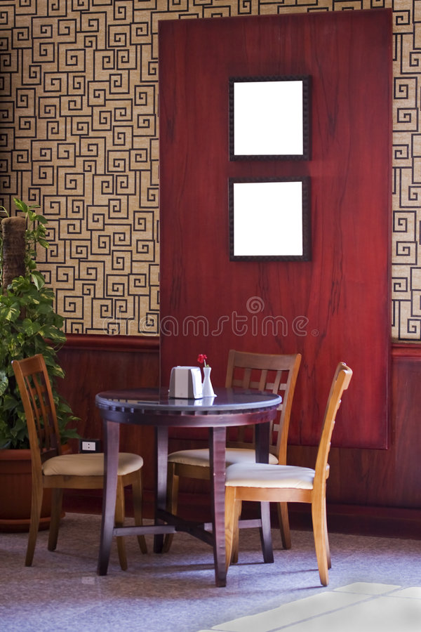 Cafe table and chairs stock photography