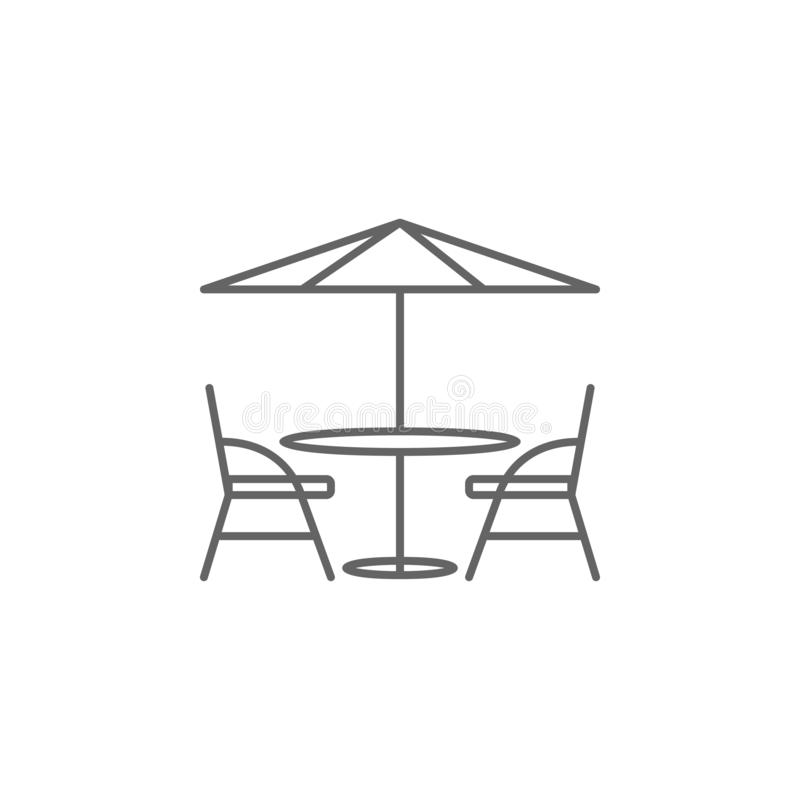 Cafe, table, chairs icon. Element of Paris icon. Thin line icon for website design and development, app development vector illustration