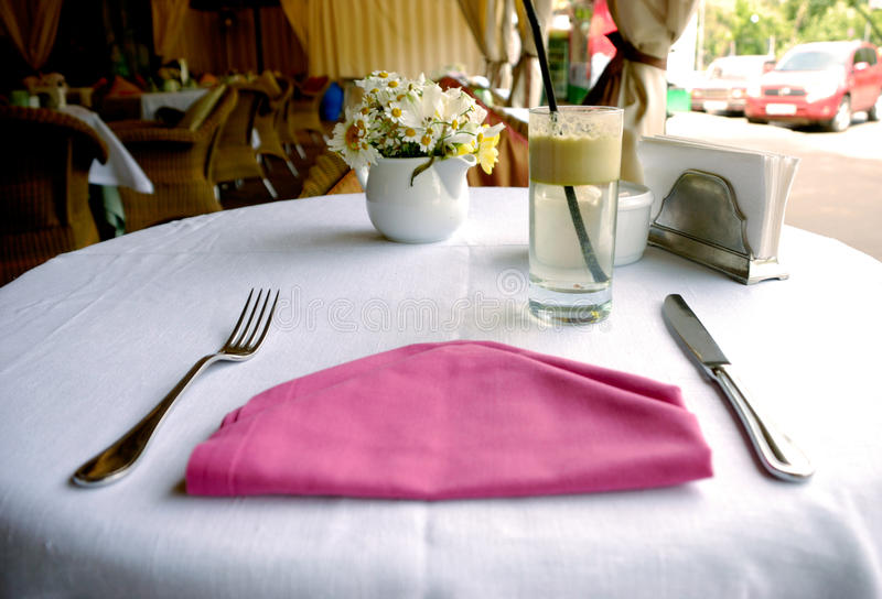 Cafe Table Setting Royalty Free Stock Images