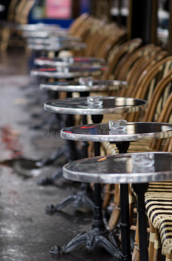 Cafe tables and chairs stock photos