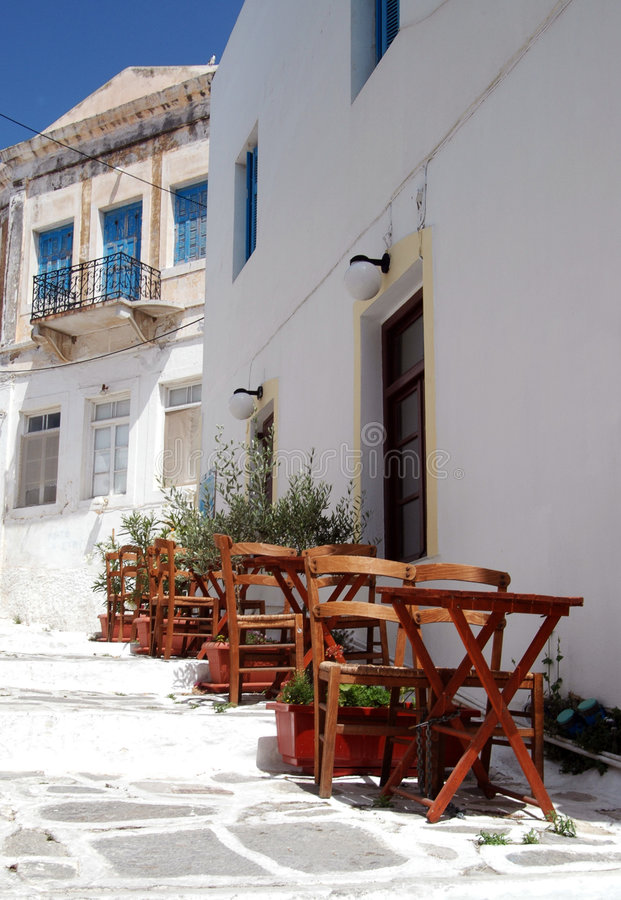 Download Cafe tables on steps stock image. Image of paros, ancient - 191305