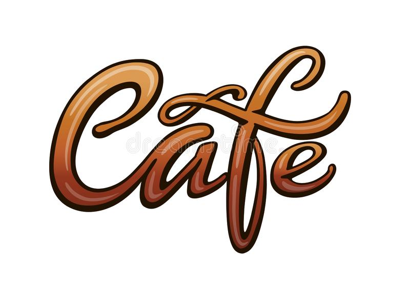 Cafe title for signboard. Cafe handwritten lettering. Title for signboard. Calligraphic comic style headline. Colorful bright volume font. Vector typographic pop stock illustration