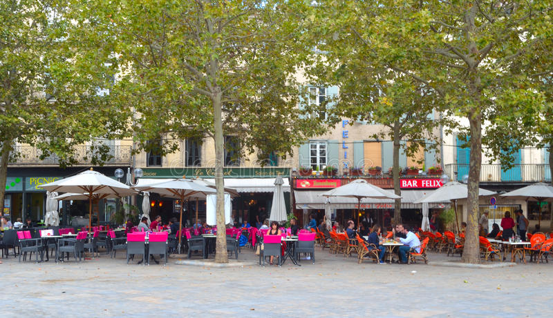 Cafe in the town square at Carcassonne France. stock image