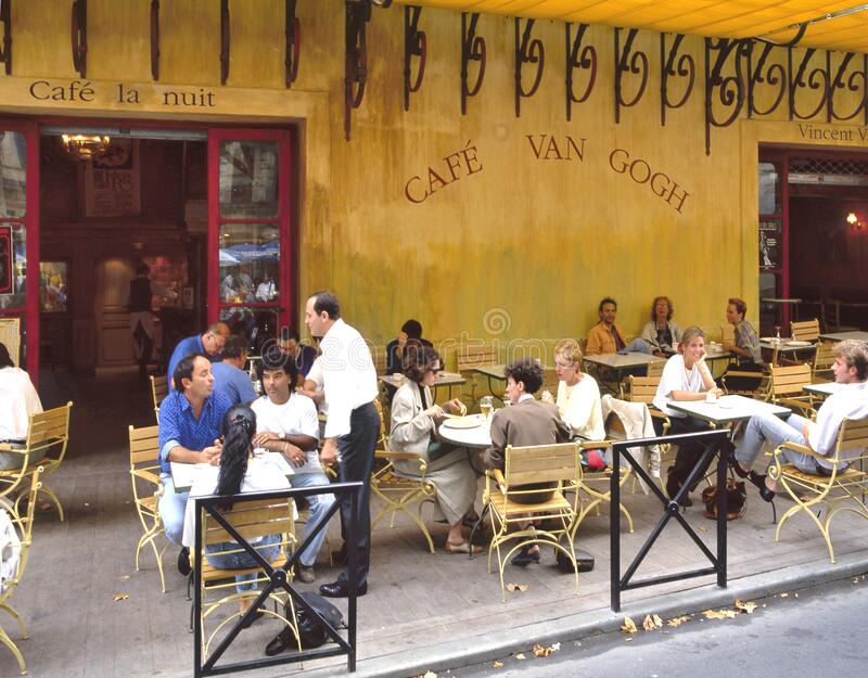 Cafe Van Gogh at Place du Forum in Arles stock photography