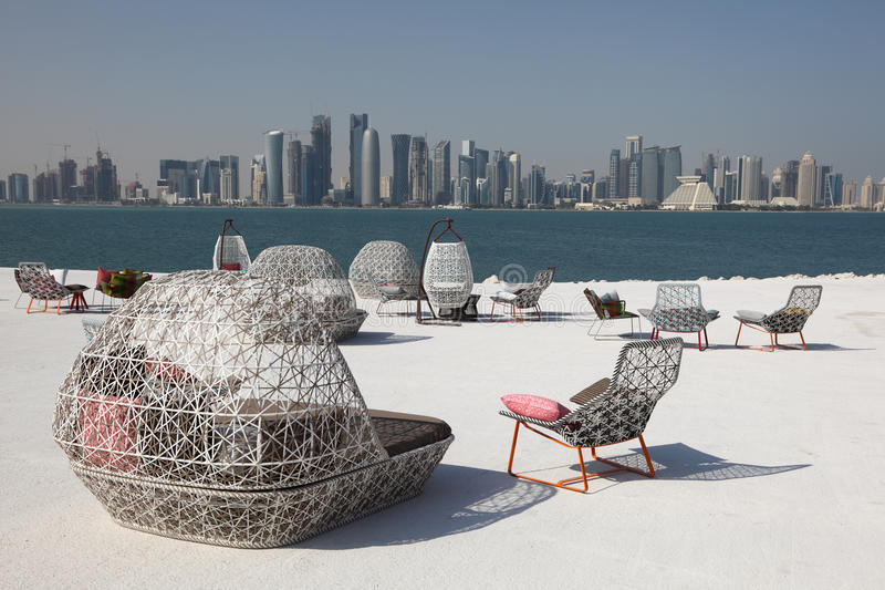 Download Cafe With View Of Doha Downtown Royalty Free Stock Images - Image: 23097799