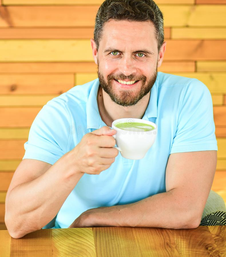 Cafe visitor happy face enjoy coffee caffeine drink. Caffeine can get creative juices flowing when you stuck in rut and stock photos